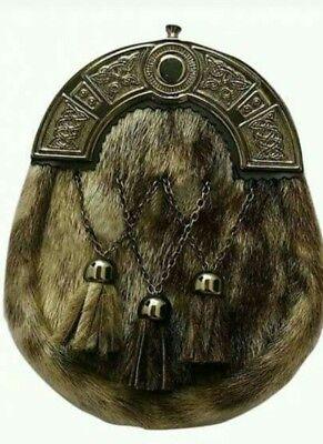 Analitico Nuova Scelta Scotish Leather Kilt Lo Sporran Antico Cantle Verde Pelliccia Con Cintura-mostra Il Titolo Originale