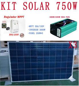 kit solaire 750w complets 24v panneau 250w 3 mppt 30amp 150v convertisseur 3000w ebay. Black Bedroom Furniture Sets. Home Design Ideas