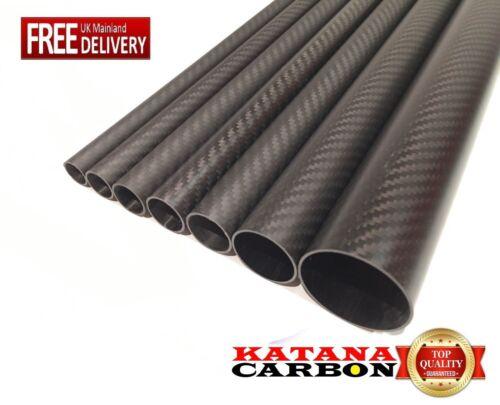Roll Wrapped Matt 1 x 3k Carbon Fiber Tube OD 34mm x ID 32mm x Length 500mm