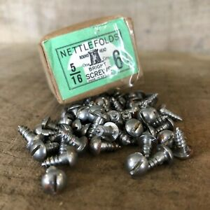 "Pack of 20 Vintage Nettlefolds 5//8/""x 6 Steel Wood Screws Slotted New Old Stock"