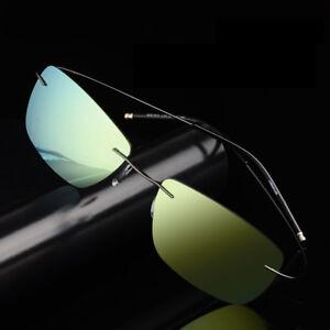 Ultra-Light-Mens-Rimless-Polarized-Lens-Sunglasses-Shades-Driving-Eyewear-UV400