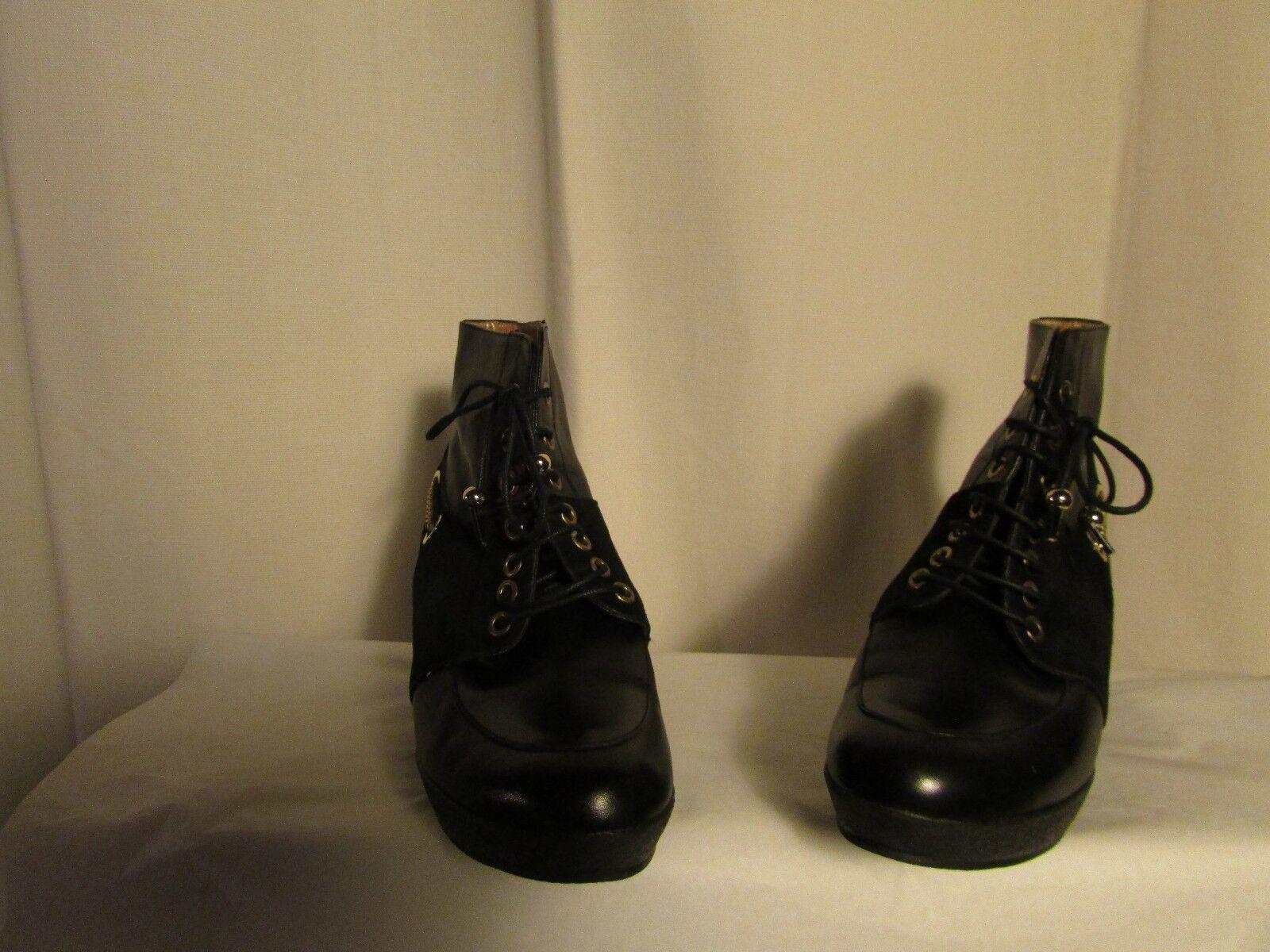 Bottines compensées MALOLES  cuir et daim daim daim noir pointure 37 f1416a