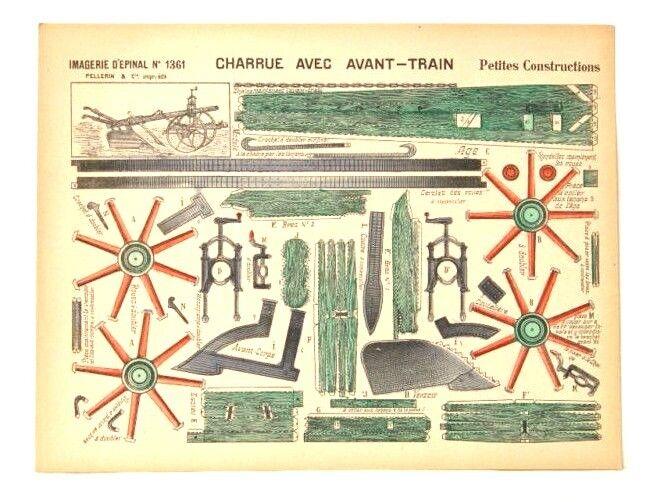 Imagerie d'epinal No1361 charrue avec Avant-Tren Petite constructionpaper Modelo
