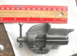 """Antique Miniature Vise 1 1/8"""""""" Jaws Quality, Tight Unmarked Free Ship"""