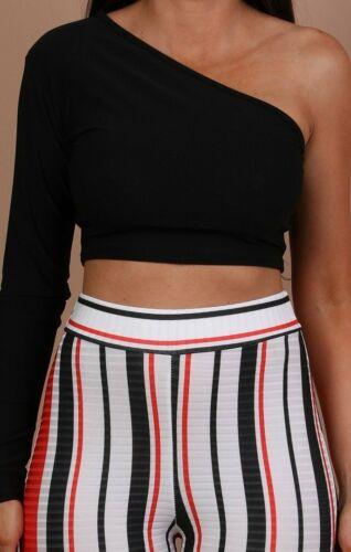 Un hombro Crop Top para Mujer Manga Larga Slim Vest Tank Tops Blusa Camiseta Prendas para club nocturno