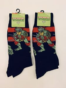 3db8bc58ada4 2 Pair Ninja Turtles Dress Socks Men's Shoe Size 6-12.5 TMNT Crew ...