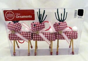 Winter-Red-Checkered-Reindeer-Figure-Primitive-Holiday-Christmas-Ornament-Set