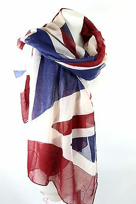 Union Jack British Invasion Flag Red White Blue Shawl Wrap Scarf Boutique