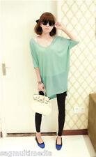 Japan Korea fashion sexy Green sheer v-neck knit top