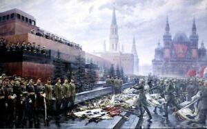 PLAQUE EN MÉTAL URSS victoire guerre mondial  30 X 20 CM