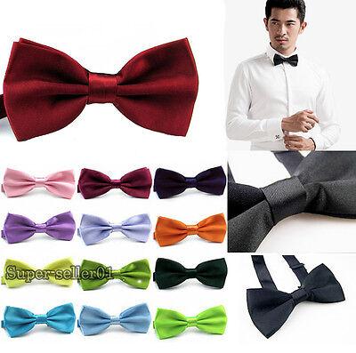 New Classic Gentleman Multicolor Solid Adjustable Polyester Bowtie Men's Bow Tie