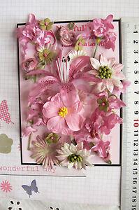 AMARANTH-PINK-20-Flowers-4Tones-9Styles-11-PAPER-amp-9-SILK-Flowers-15-60mmHH6