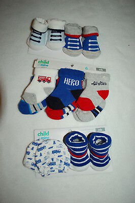 Gerber Baby Boy Navy//Red Firetruck Booties Size 0-6M BABY CLOTHES SHOWER GIFT