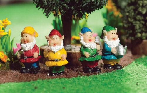 1//12 Maison de Poupées Miniature Set de 4 gnomes Jardin Fée Pixie Ornements BN LGW