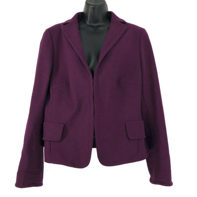 Akris Punto Blazer Jacket Wool Angora Magenta Burgundy Purple Women's Size 14