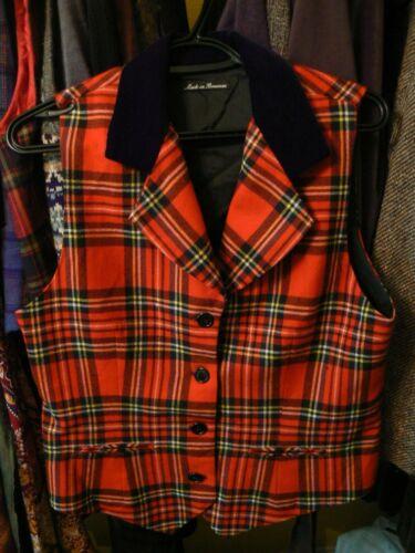 Wool & Velvet Tartan Plaid Vest Waistcoat Romania