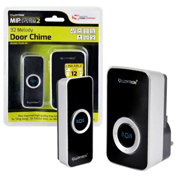 32 Chime Wireless Door Bell Cordless 150M Range Quality LLOYTRON Melody Black