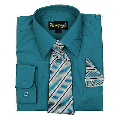 BOYS TURQUOISE DRESS SHIRT WITH MATCHING TIE LONG SLEEVE Sizes 4 -20