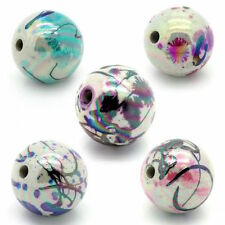 20 perles magnifique ronde tachetée 12 mm acrylique mixte