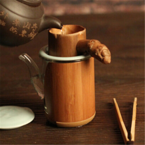 Vintage Natural Bamboo Tea Filter Strainer with Handle Drinkware Accessories HO