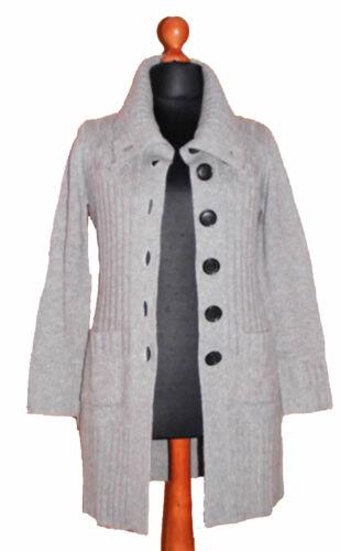 IN LINEA Strickjacke Cardigan    M  L    LANG  30/% Wolle 20/% Alpaka  *Grau* NEU