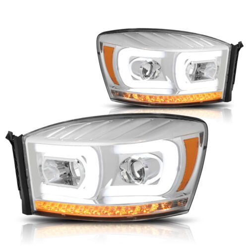 For 06-09 Ram C-Bar LED DRL+Chasing Signal Lamp Projector Headlight Chrome//Amber