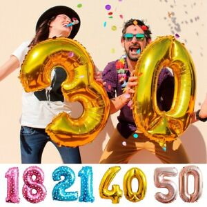 16-18-21-30-40-50th-Birthday-Feuille-Numero-Helium-Age-Ballons-Mariage-Fete