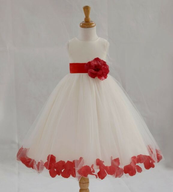 WHITE Flower Girl Dress Dance Birthday Party Bridesmaid Graduation Prom Pageant