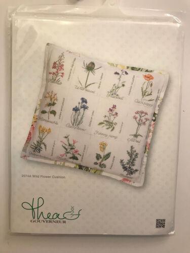 Thea Gouverneur WILD FLOWER CUSHION 2074A Pillow Cross Stitch Kit NIB