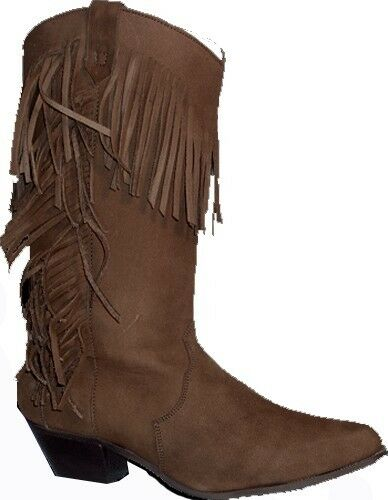 Ladies Brown Boots Suede Western Cowgirl Fringe Boots Brown 74b0b0