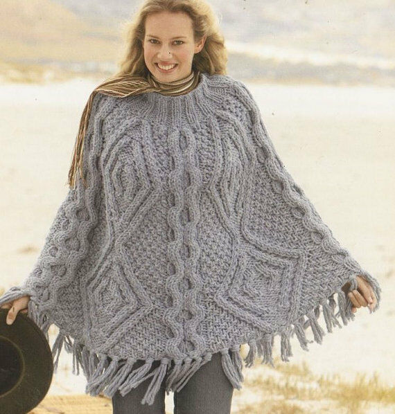 Ladies Mega Super Chunky Cable Aran Poncho Knitting Pattern 99p | eBay