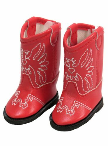 """Details about  /Red Western Cowboy Cowgirl Eagle Boots fit 14/"""" Wellie Wishers Doll Shoes"""
