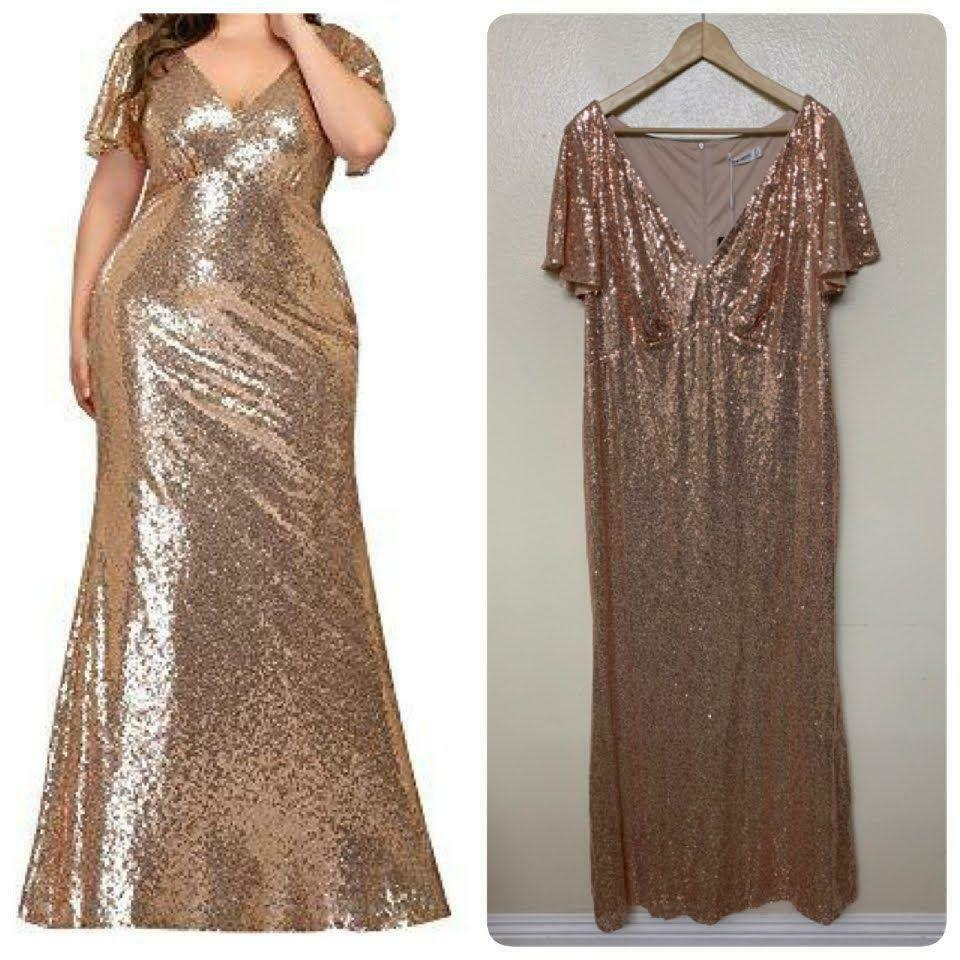 Ever-Pretty V Neck Formal Evening MTB Sequins Mermaid Gown Sz 24 Rose Gold