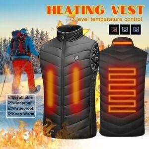 Unisex Electric Vest Heated Jacket USB Thermal Heat Pad Winter Warmer Black US