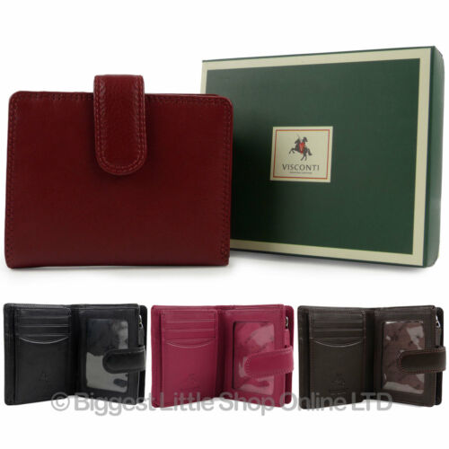 NEW Ladies LEATHER Compact Tab PURSE Wallet by Visconti HERITAGE GIFT BOX Handy