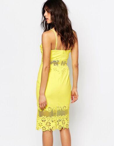 River Island Mesh Insert crayon Midi robe en noir /& jaune taille 6 To 14