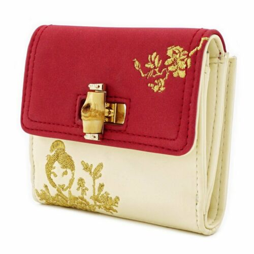$ New LOUNGEFLY DISNEY Fold Wallet MULAN Bamboo Lock Red Gold Flower Girl
