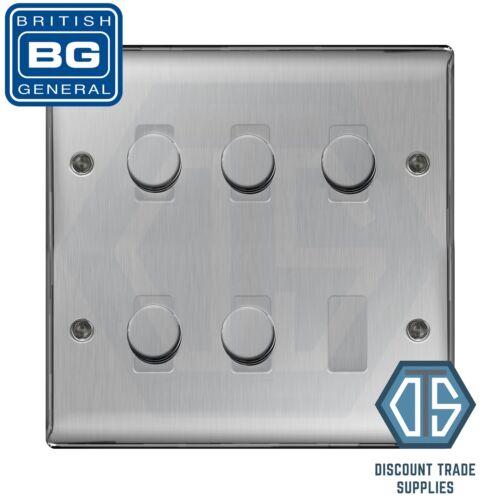 BG en acier brossé chrome satiné 5 Gang 2 Way Variateur DEL Compatible Custom Grille