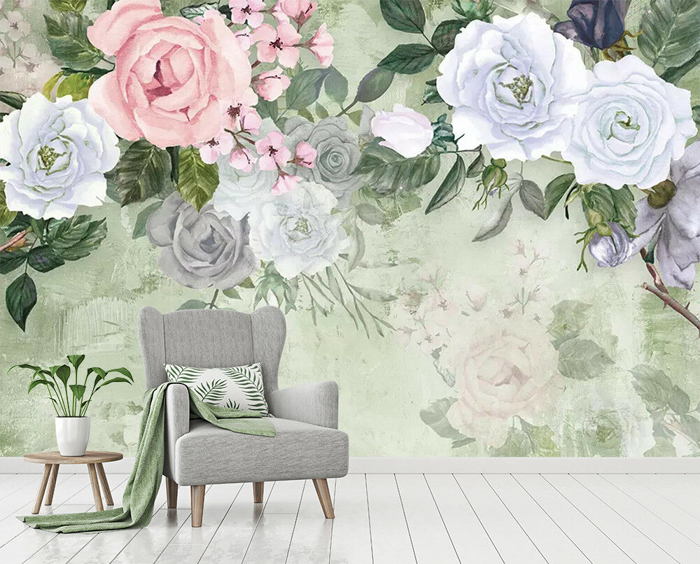 3D Watercolor Roses 6 Wall Paper Exclusive MXY Wallpaper Mural Decal Indoor wall