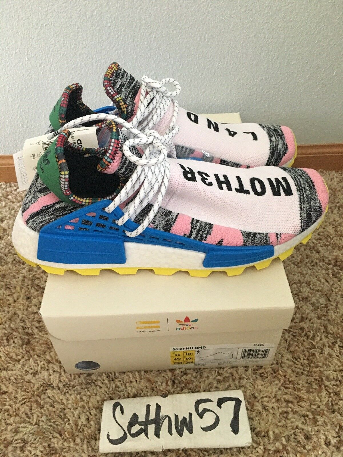 Adidas x Pharrell Williams NMD HU Solar Pack Mother Moth3r BB9531 Size 11 w rcpt