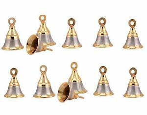 Brass 2 Inches Bell Gold Finish Pack of 12 Pieces Pooja Room Bells