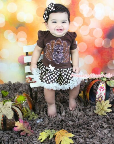 Thanksgiving Rhinestone Turkey Brown Bodysuit Beige Skirt Girl Baby Dress NB-12M