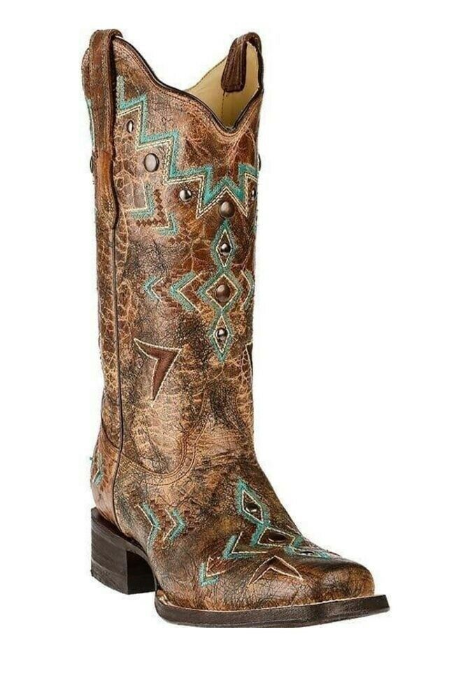 Corral Ladies Cowhide Square Toe Western Boots Bronze Turquoise Studs E1024