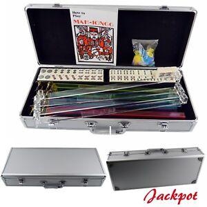 Open box American Mah jong 166 Set Western Mah Jongg Tiles w/Pushers Silver