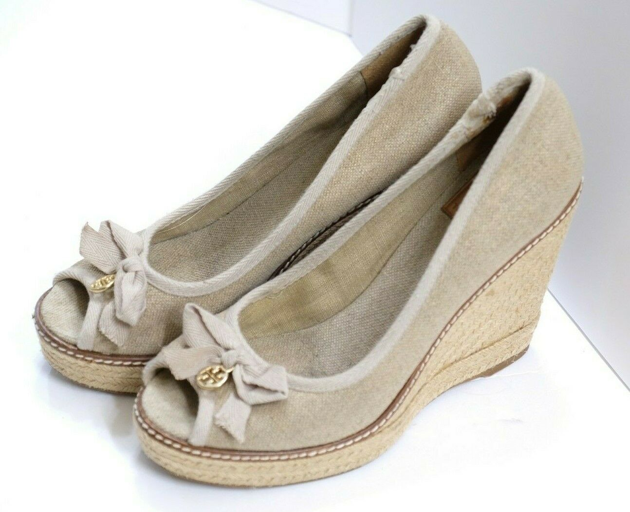 VGUC Tory Burch Women's Size 9B Beige Fabric High Heel Open Toe Espadrilles