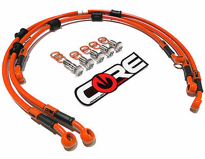 HONDA CBR1000RR 2004-2005 STEEL BRAIDED FRONT AND REAR BRAKE LINES SOLID ORANGE