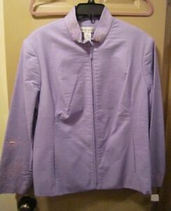 NEW-SZ-16-DRAPER-039-S-DAMONS-PURPLE-ZIP-FRONT-BEADED-EMBROIDERED-JACKET-BLAZER-NWT