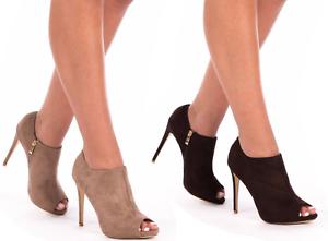 en stock comprar nuevo muy elogiado Detalles de Mujer Damas Mediados de gamuza de plataforma Tacones Altos  Stiletto Tobillo Botas Zapatos de chicas- ver título original
