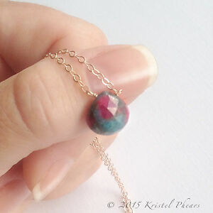 Ruby Zoisite, Fuchsite necklace - natural gemstone solitaire in 14k gold-filled