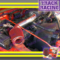 97 98-02 Jeep Wrangler Se Sport Sahara 2.5l I4 Air Intake Kit+k&n Black Red Tbh